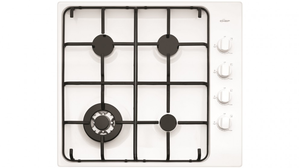 Chef 600mm 4 Burner White Gas Cooktop