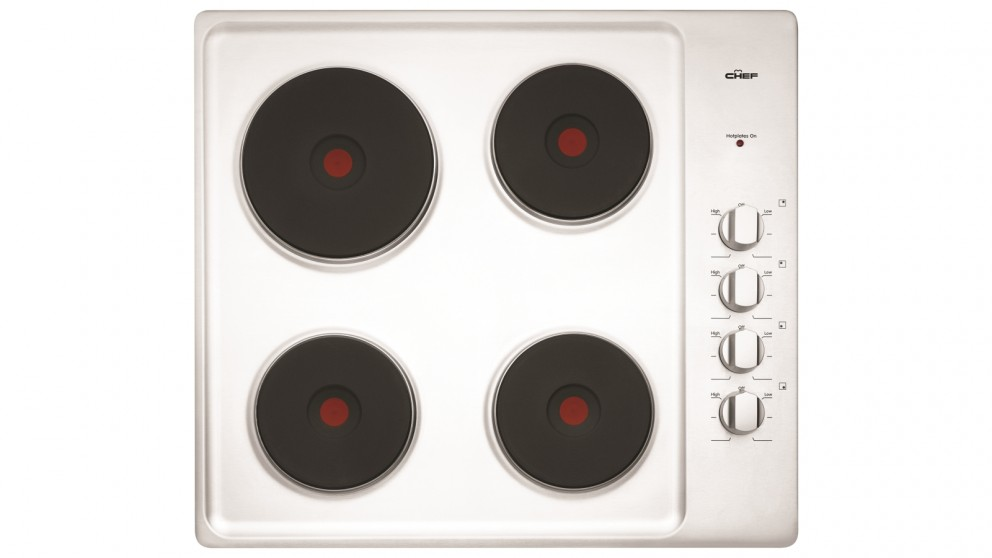 Chef 600mm 4 Solid Element Electric Stainless Steel Cooktop