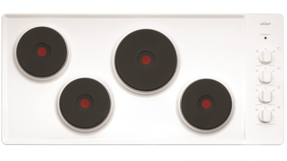 Chef 900mm 4 Solid Element Electric White Enamel Cooktop