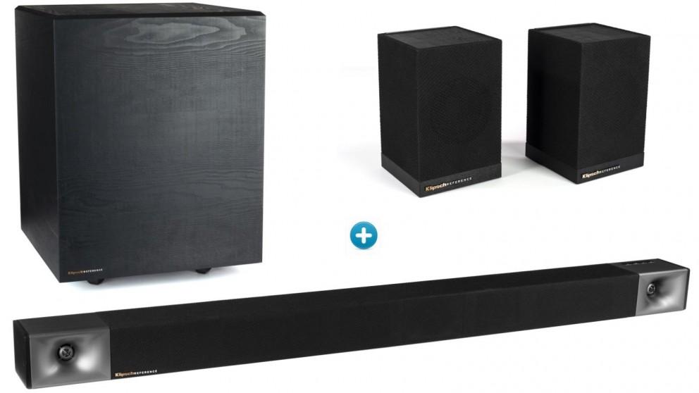 Klipsch Cinema 600 3.1-Channel Soundbar with Wireless Subwoofer & Surround 3 Wireless Speaker
