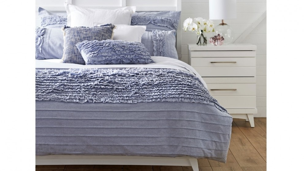 Clovelly Chambray Super King Quilt Cover Set - Blue