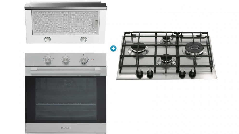 Ariston 600mm Gas Cooktop Cooking Package with Slide-Out Rangehood