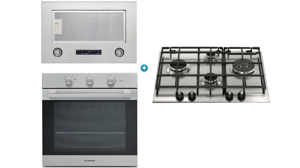 Ariston 600mm Gas Cooktop Cooking Package with Undermount Rangehood