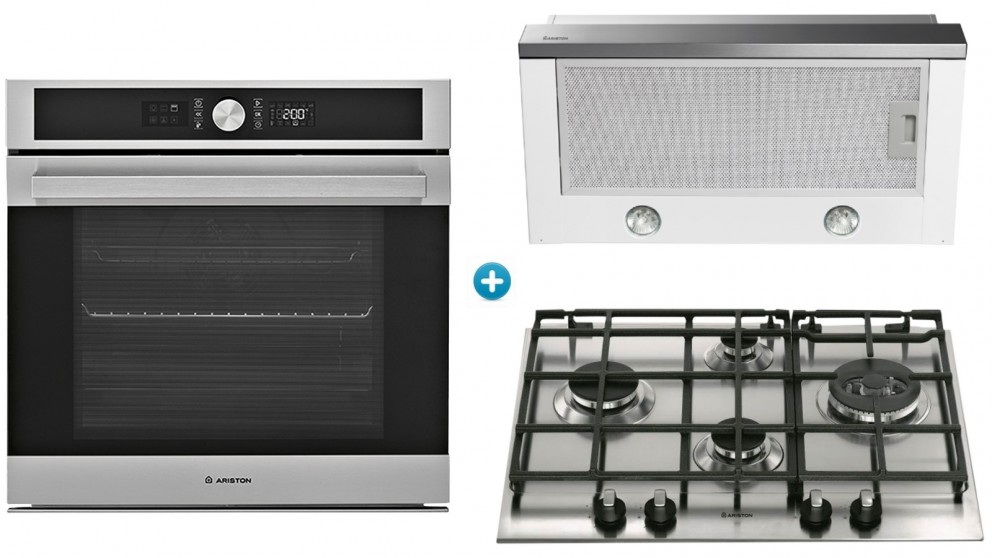 Ariston 600mm Catalytic Oven Cooking Package with Gas Cooktop & Slide-Out Rangehood