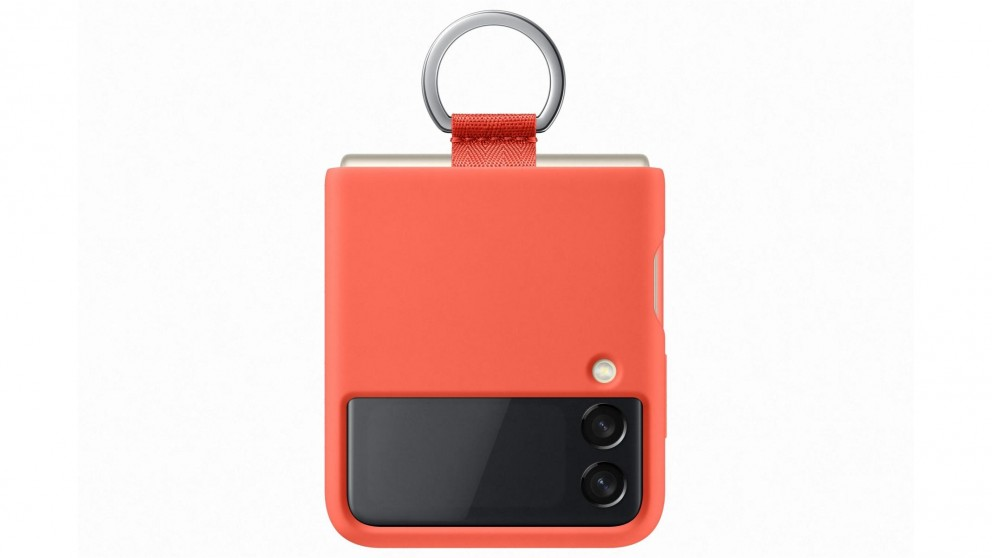 Samsung Galaxy Z Flip3 5G Silicone Cover with Ring - Coral
