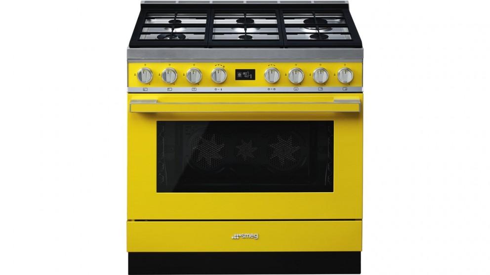 Smeg 900mm Portofino Pyrolytic Freestanding Cooker with Gas Cooktop - Sunshine Yellow