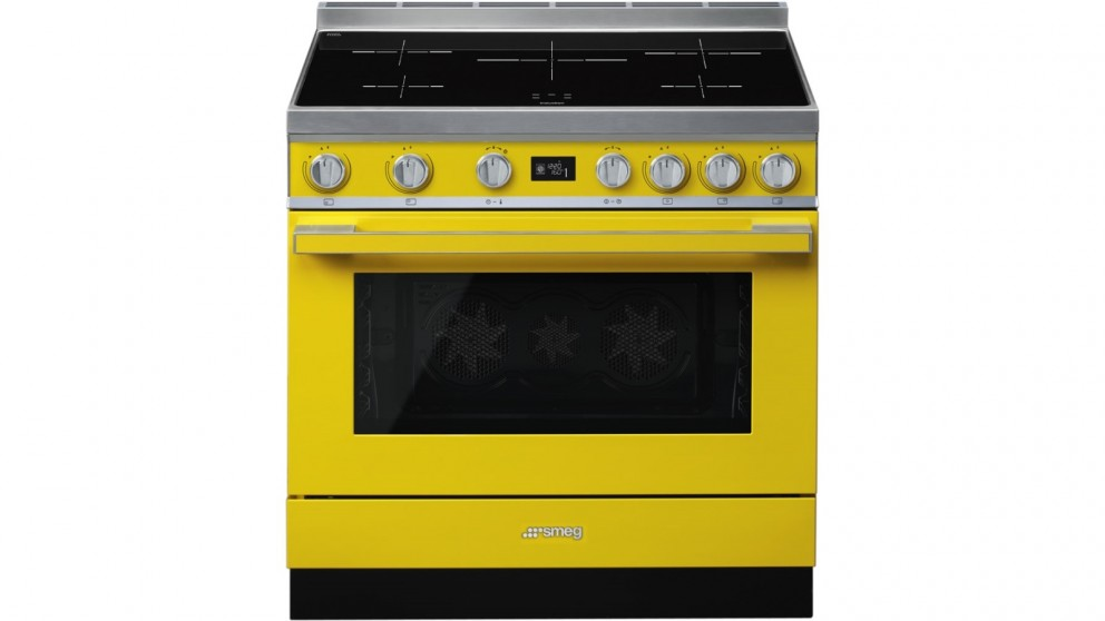 Smeg 900mm Portofino Pyrolytic Freestanding Cooker with Induction Cooktop - Sunshine Yellow