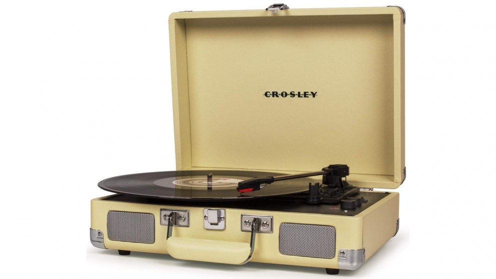 Crosley Cruiser Deluxe Portable Turntable - Fawn - w/ Record Storage Crate