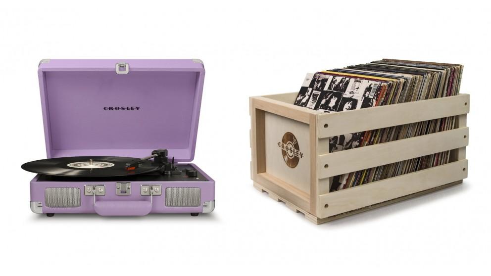 Crosley Cruiser Deluxe Portable Turntable - Lavender - w/ Record Storage Crate