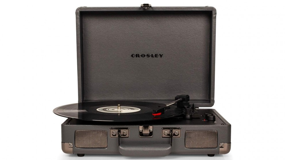 Crosley Cruiser Deluxe Portable Turntable -  Slate - w/ Record Storage Crate