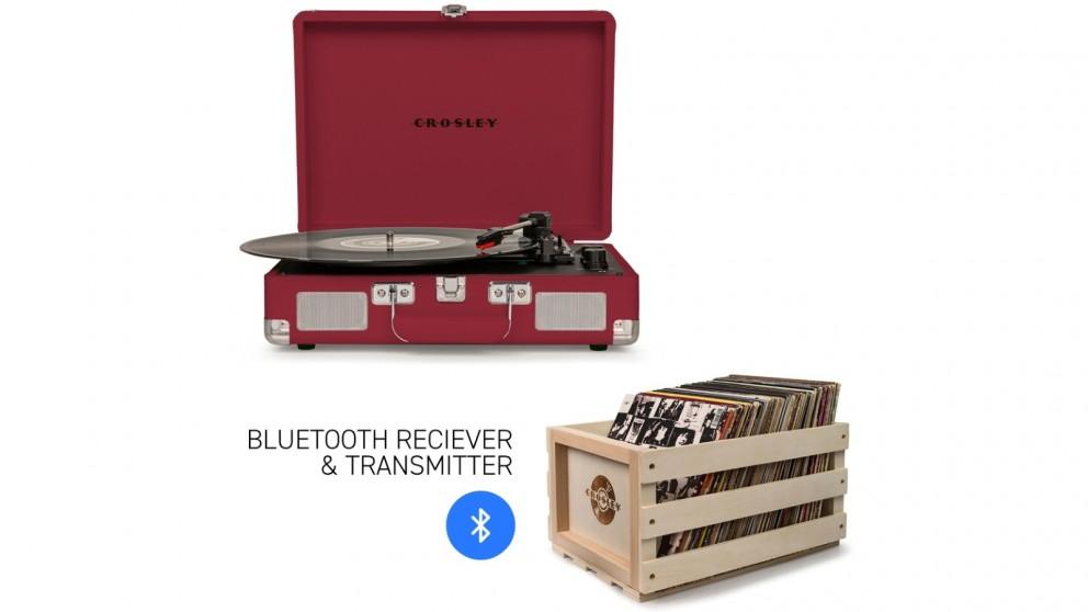 Crosley Cruiser Bluetooth Portable Turntable & Record Storage Crate - Burgundy