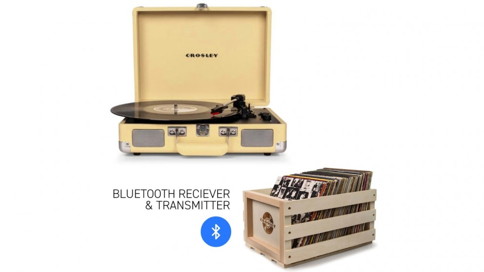 Crosley Cruiser Bluetooth Portable Turntable & Record Storage Crate - Fawn