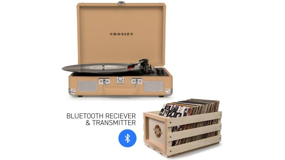Crosley Cruiser Bluetooth Portable Turntable & Record Storage Crate - Light Tan