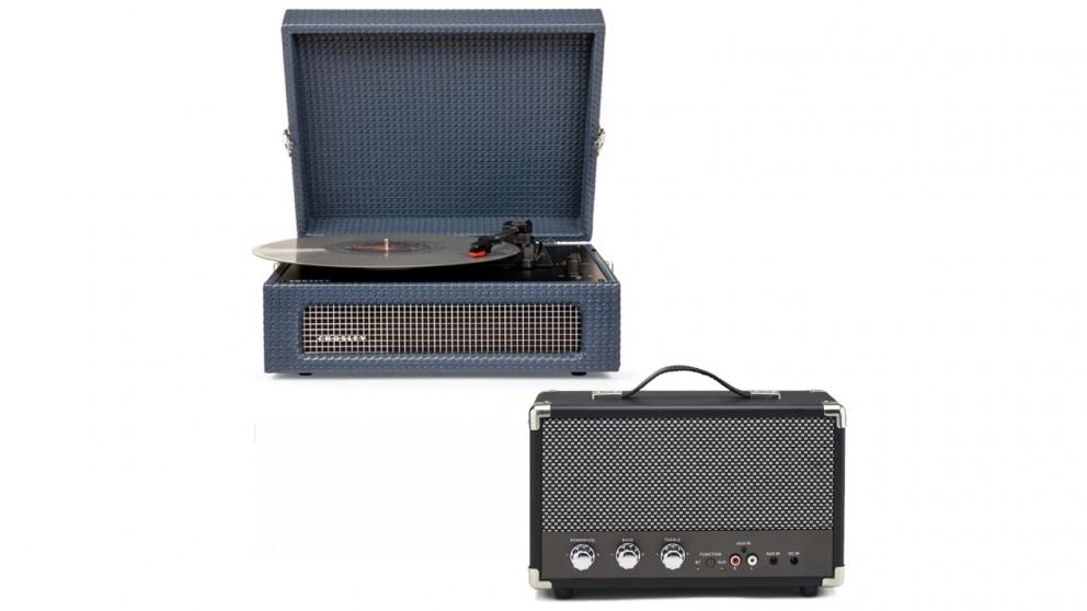 Crosley Voyager Bluetooth Portable Turntable & Bundled GPO Portable Bluetooth Speaker - Navy
