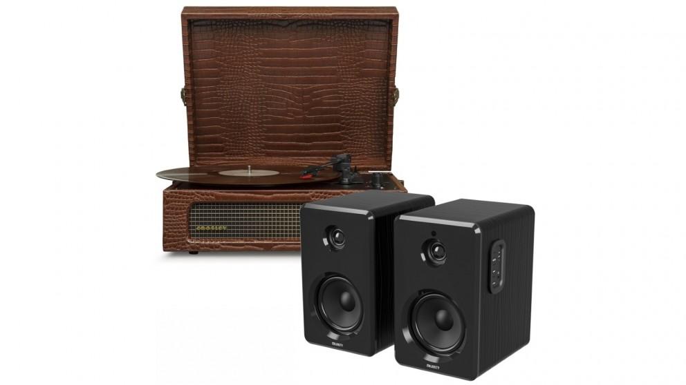 Crosley Voyager Bluetooth Portable Turntable - Brown Croc + Bundled Majority D40 Bluetooth Speakers - Black