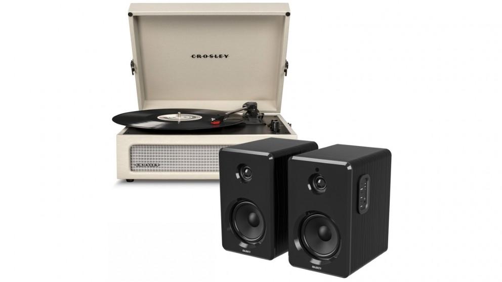 Crosley Voyager Bluetooth Portable Turntable - Dune + Bundled Majority D40 Bluetooth Speakers - Black