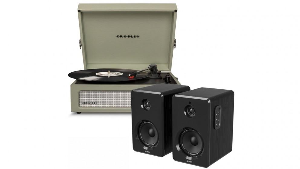 Crosley Voyager Bluetooth Portable Turntable - Sage + Bundled Majority D40 Bluetooth Speakers - Black