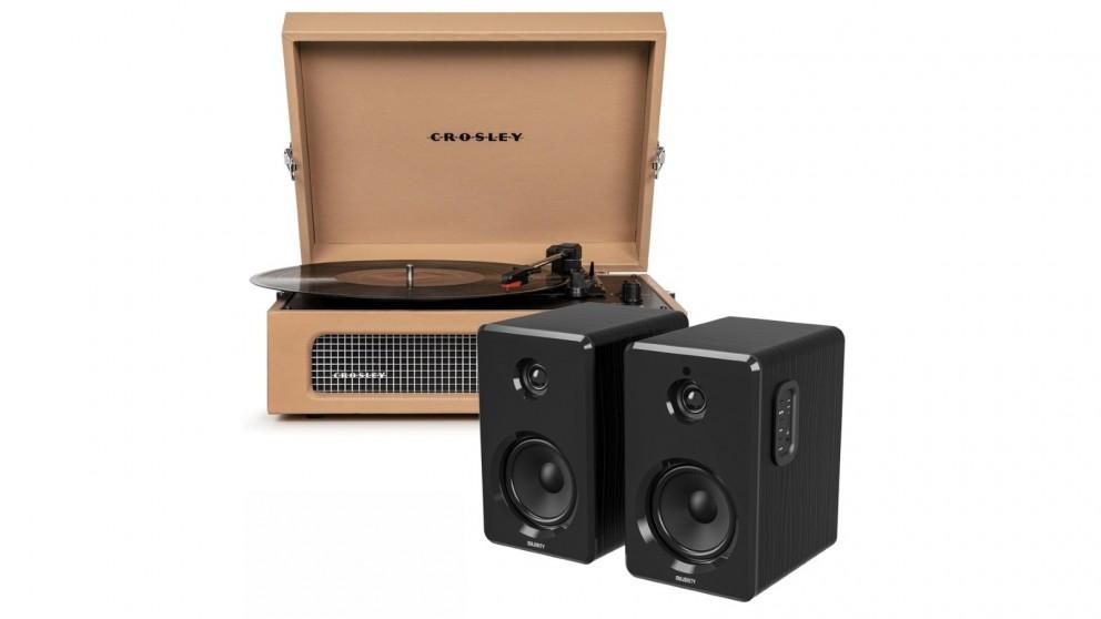 Crosley Voyager Bluetooth Portable Turntable – Tan + Bundled Majority D40 Bluetooth Speakers – Black