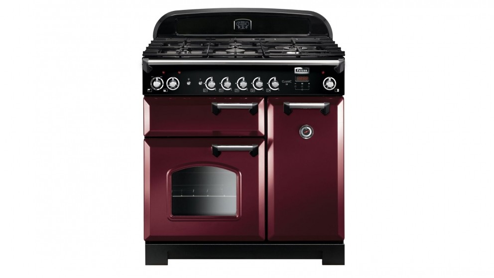 Falcon Classic 900mm Natural Gas Freestanding Upright Cooker - Cranberry/Chrome