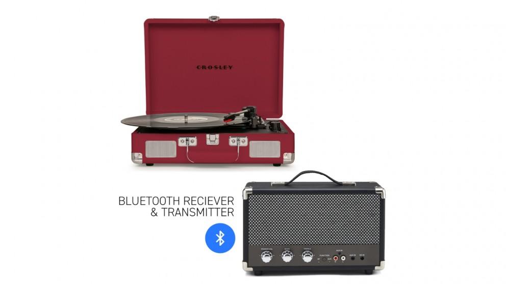Crosley Cruiser Bluetooth Portable Turntable - Burgundy + Bundled GPO Portable Bluetooth Speaker - Black