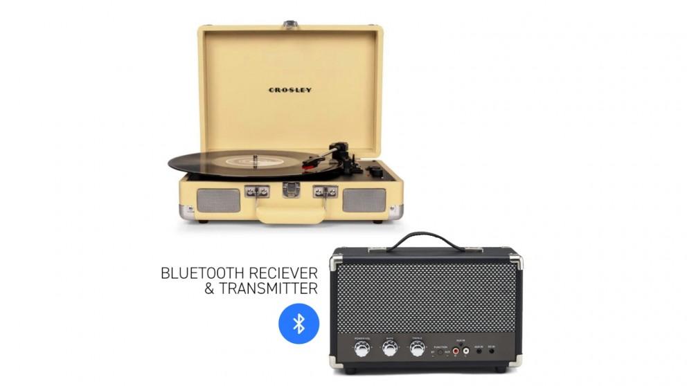 Crosley Cruiser Bluetooth Portable Turntable - Fawn + Bundled GPO Portable Bluetooth Speaker - Black