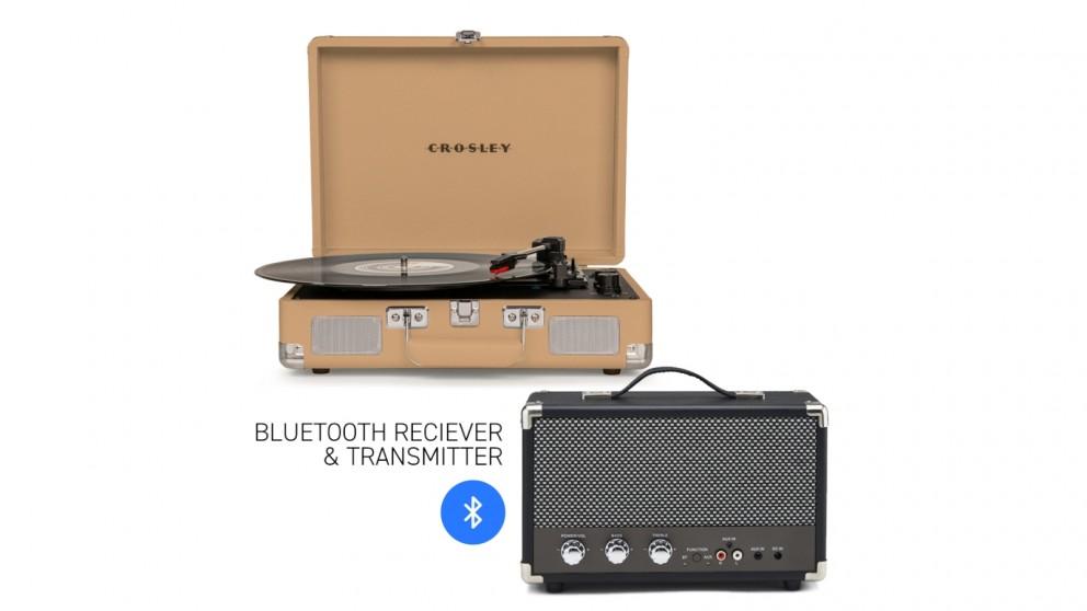 Crosley Cruiser Bluetooth Portable Turntable - Light Tan + Bundled GPO Portable Bluetooth Speaker - Black