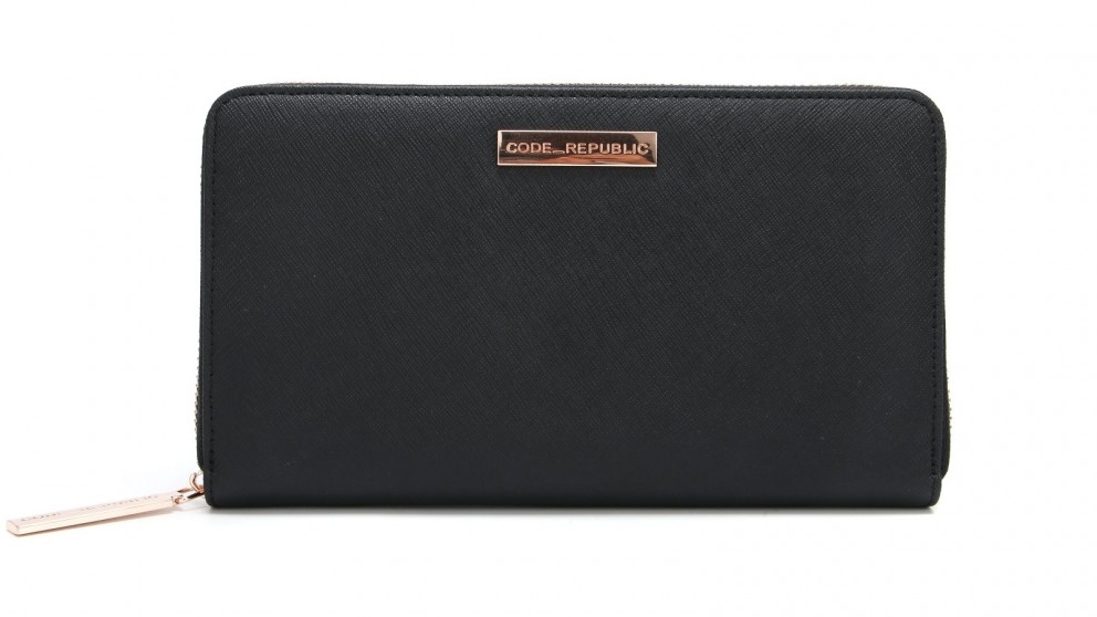Code Republic Saffiano Leather Passport & Phone Wallet - Black