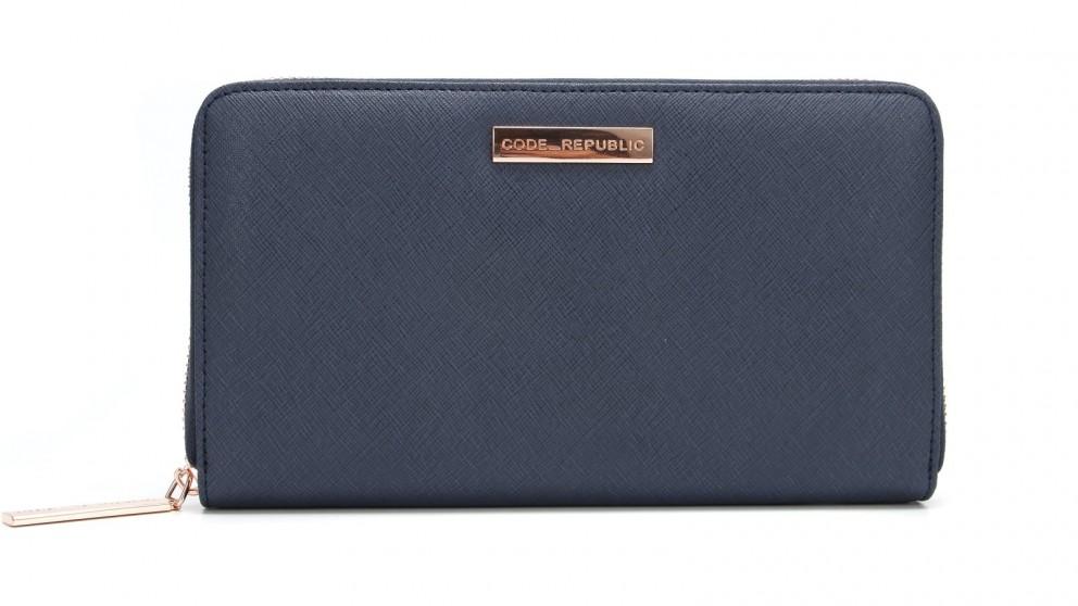 Code Republic Saffiano Leather Passport & Phone Wallet - Navy