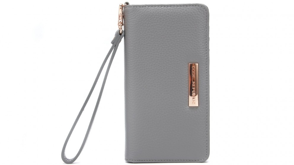 Code Republic Pebble Leather Universal Phone Wallet - Grey