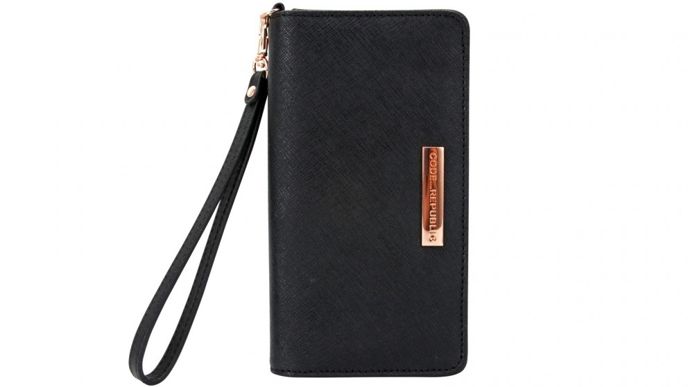 Code Republic Saffiano Leather Universal Phone Wallet - Black