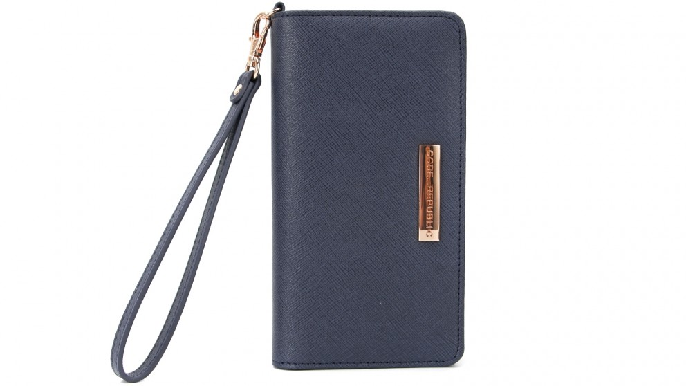 Code Republic Saffiano Leather Universal Phone Wallet - Navy