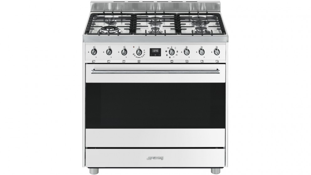 Smeg 900mm Freestanding Cooker with Electronic Touch Clock - White