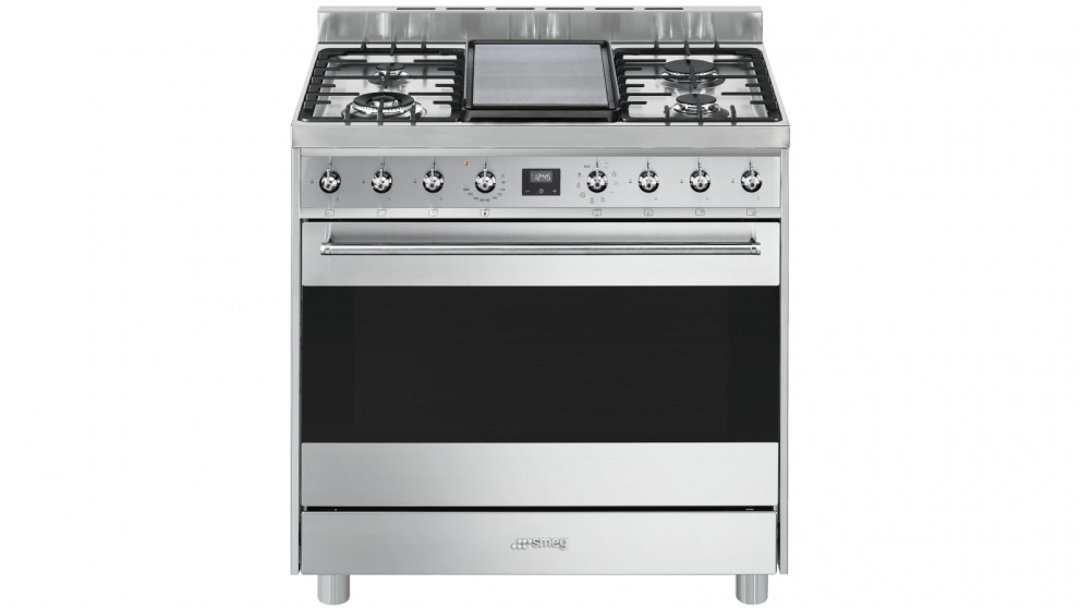 Smeg 900mm Freestanding Cooker with Electronic Touch Clock - Stainless Steel