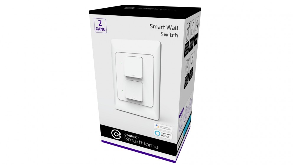Connect Smart 2 Gang Wall Switch - White
