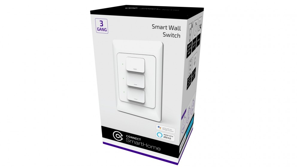 Connect Smart 3 Gang Wall Switch - White
