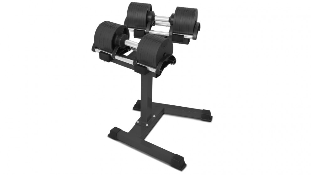 Lifespan Fitness Revolock 64kg Adjustable Dumbbell Set with Stand