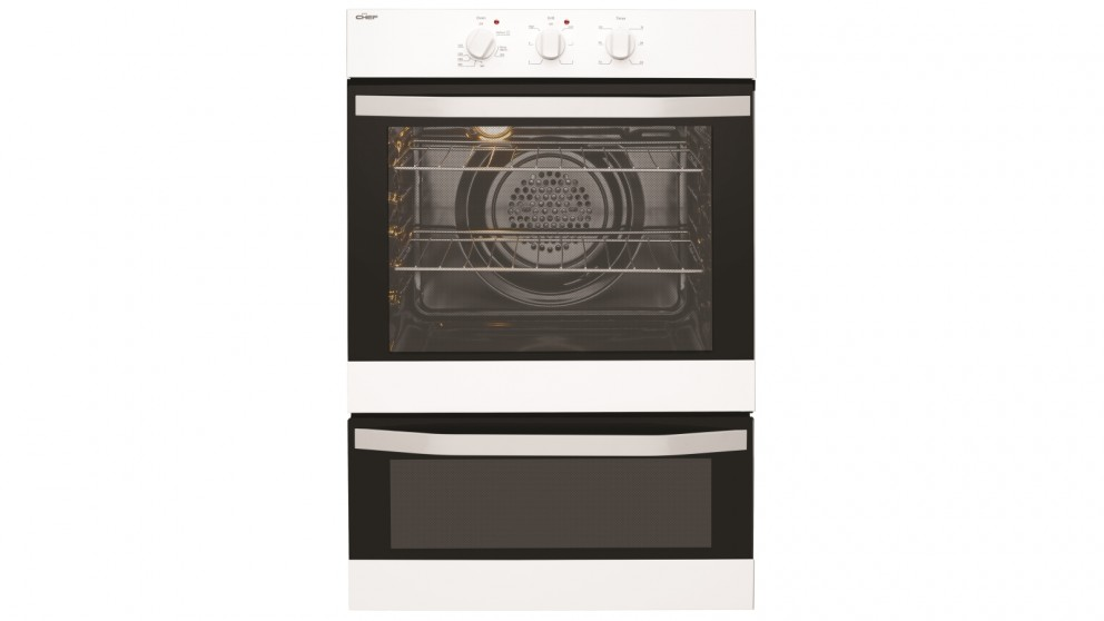 Chef 600mm Fan Forced Electric Wall Oven with Separate Grill - White