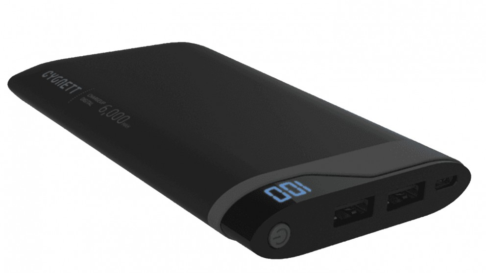 Cygnett ChargeUp Digital 6000 Power Bank - Black and Grey