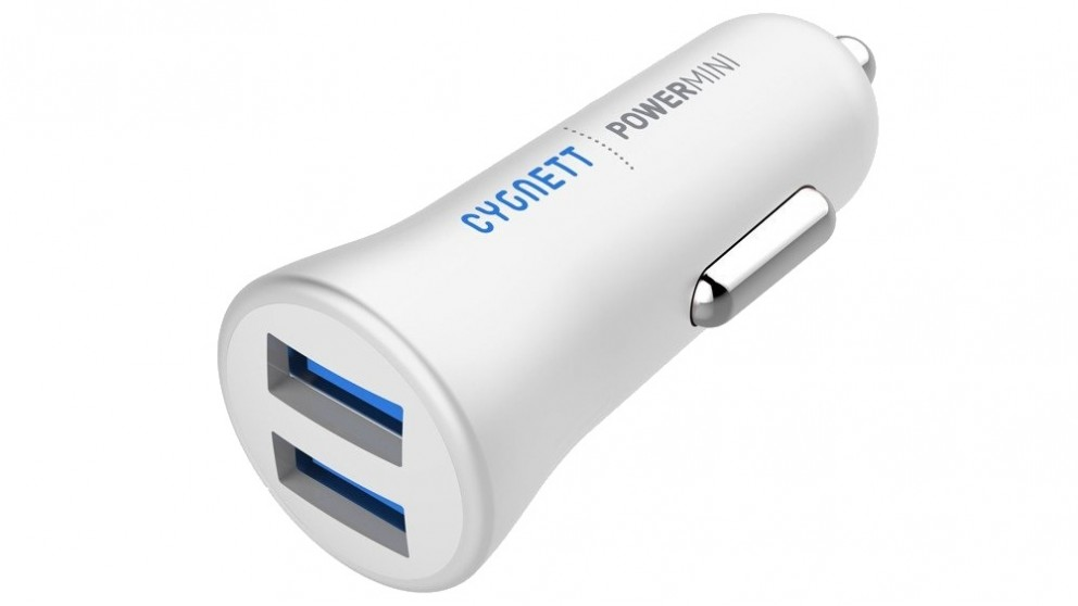 Cygnett Power Mini 2.4 Dual USB Car Charger - White