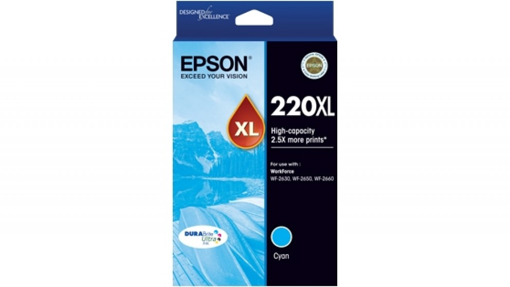 Epson 220XL DURABrite Ultra High Capacity Ink Cartridge - Cyan