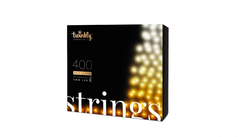 Twinkly App-Controlled Christmas Light String with 400AWW LED (Amber, Warm White, Cold White)