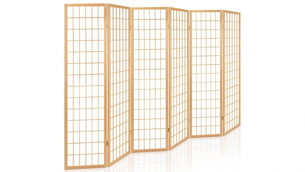 Artiss 6 Panel Wooden Room Divider Foldable - Natural
