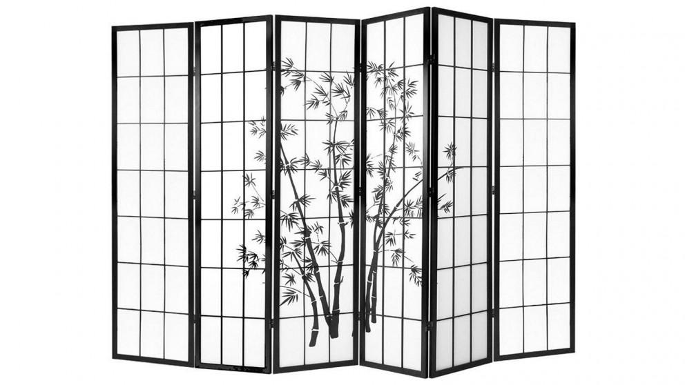 Artiss 6 Panel Shoji Bamboo Room Divider - Black/White