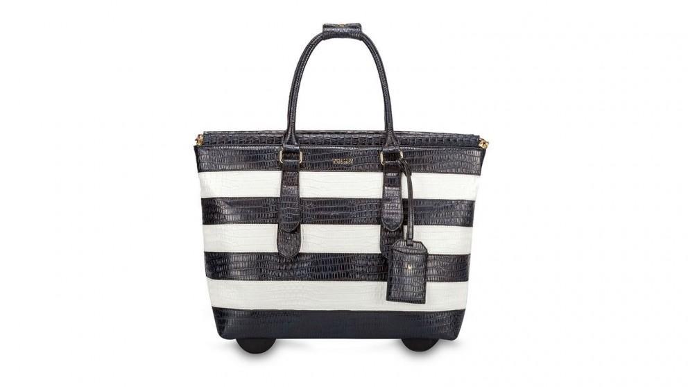 Darwin Striped Trolley Travel Bag - Black/White