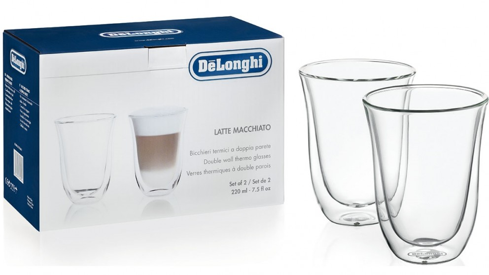DeLonghi Pack of 2 Latte Macchiato Dual Wall Thermo Glass