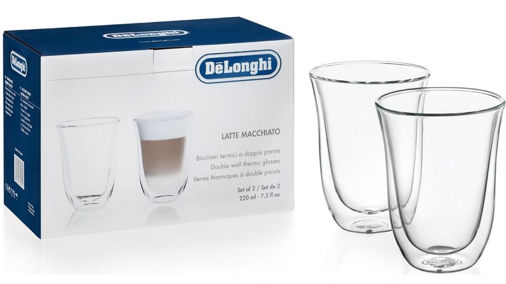 DeLonghi Pack of 2 Latte Macchiato Dual Wall Thermo Glass