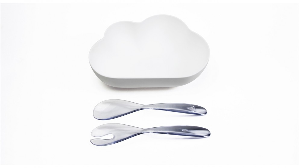 Qualy White Cloud Salad Bowl with Clear Servers