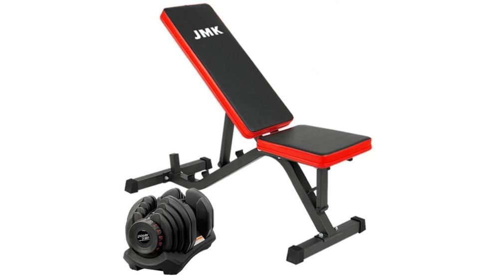 PowerTrain 1x 40kg Dumbbell with ZYDB Bench
