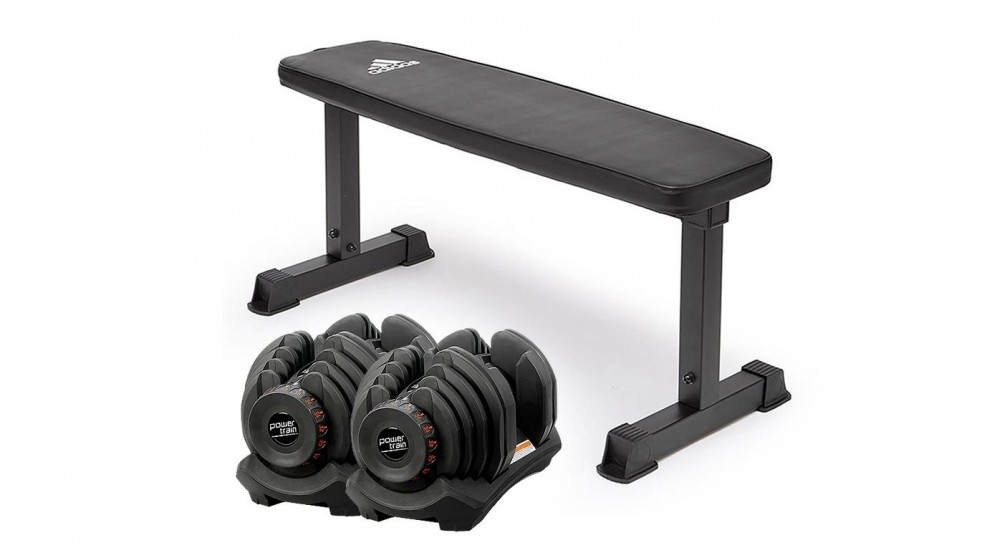 PowerTrain 2x 40Kg Dumbbells with 10437 Bench