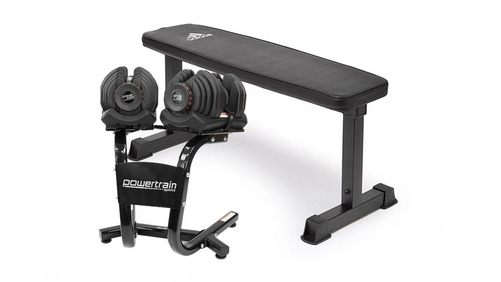PowerTrain 2x 40Kg Dumbbells with Stand and 10437 Bench